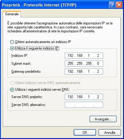 Configurazione computer fisso