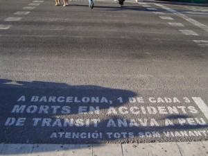 Avviso sulle strade di Barcellona