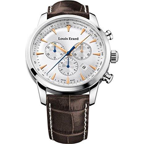orologio pregiato Louis Erard Men's 42mm Chronograph cinturino marrone Quartz Watch 13900AA11.BDC101