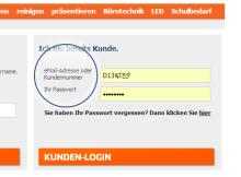 Kundennummer oder Emailadresse?