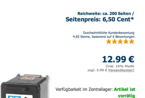 Die Seitenpreisangabe auf der Produktdetailseite