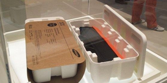 Dafür hat Samsung einen Design-Preis bekommen: Eine umweltfreundliche Tonerschachtel in Eierschachtelanmutung. Nur dass Samsung seine Toner künftig wirklich so verpackt, ist eher unwahrscheinlich.