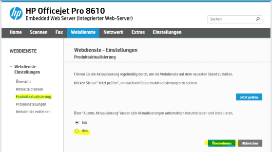 Firmwareupdate abstellen HP Officejet 8610