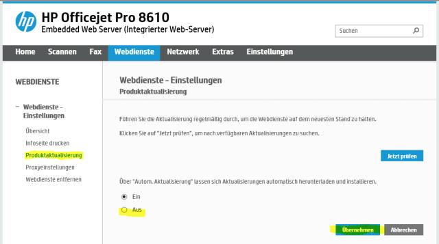 Firmwareupdate abstellen HP Officejet 8610