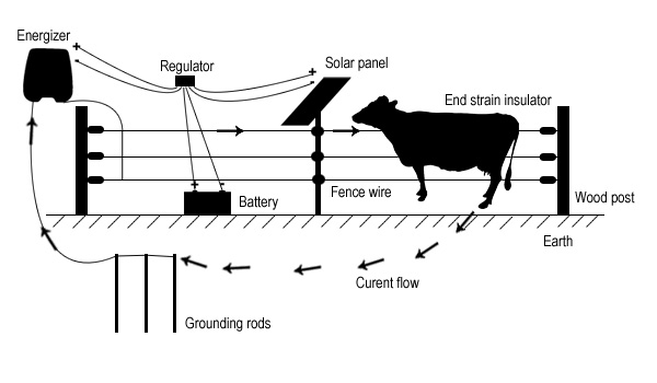 Electric fence diagram for farm-Security electric fence