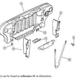 1999 2006 jeep wrangler radiator grill support 55174594ag tonkin 2005 jeep wrangler radiator diagram [ 925 x 899 Pixel ]