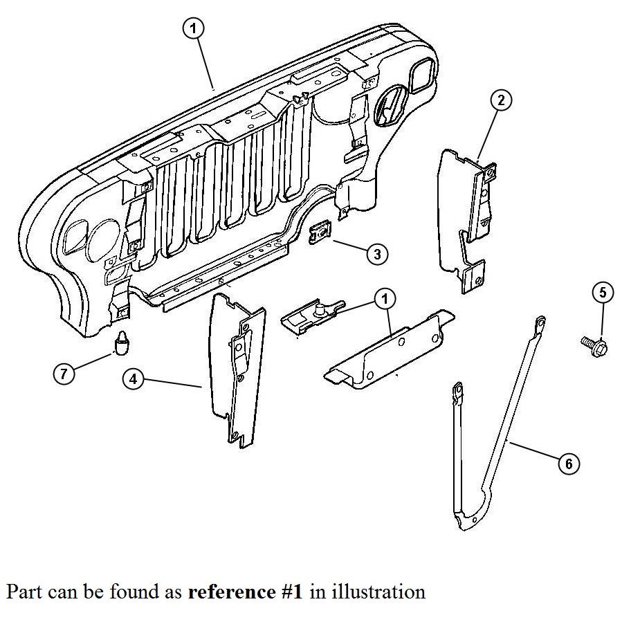 medium resolution of 1999 2006 jeep wrangler radiator grill support 55174594ag tonkin 2005 jeep wrangler radiator diagram