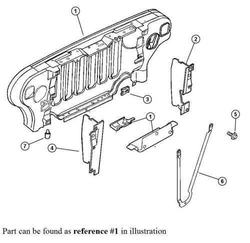 small resolution of 1999 2006 jeep wrangler radiator grill support 55174594ag tonkin 2005 jeep wrangler radiator diagram