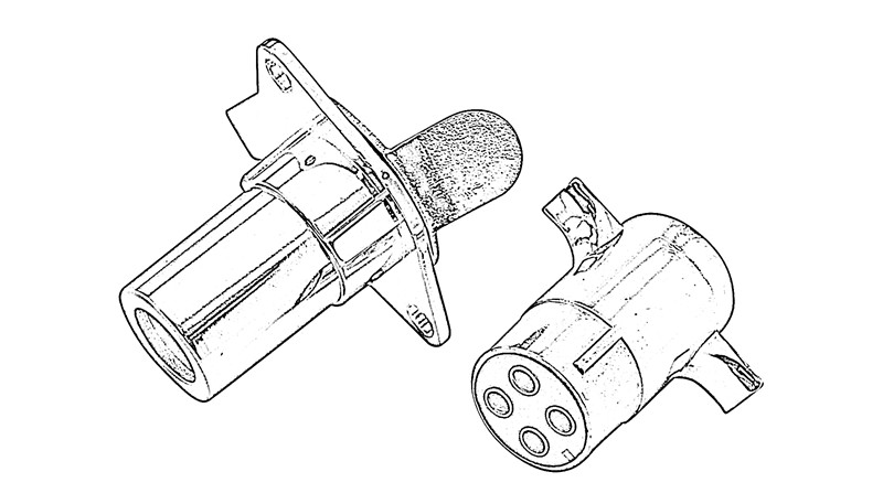 China Vehicle-Side and Trailer-Side 4-Pole Round Wiring