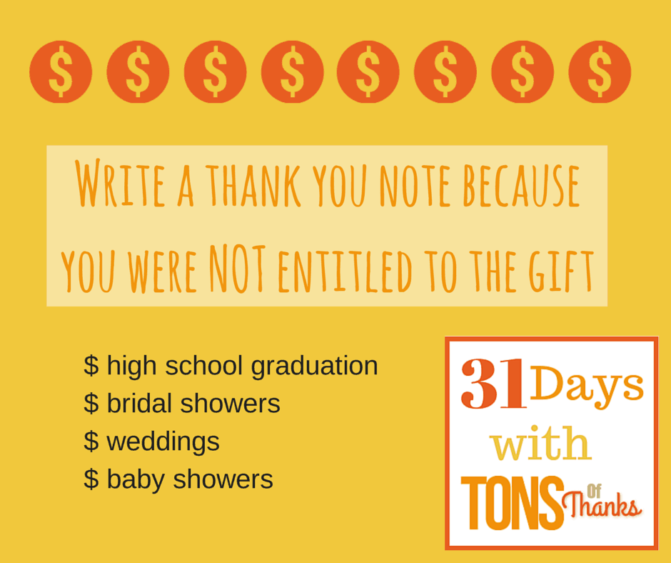 Write a thank you note as not entitled to gift