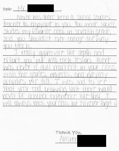 Teacher Thank You Note Letter From Student