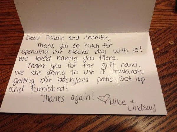 Thank You For A Wedding Gift: Wedding Thank You Note Examples