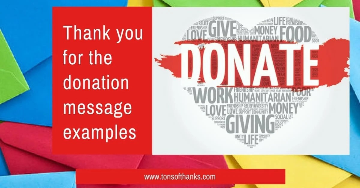 Thank you for the donation message examples