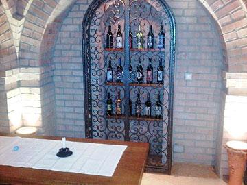 Bottles conceal the hidden door at Eszterbauer Winery