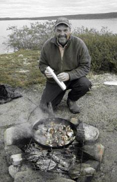 John cooking potatoes