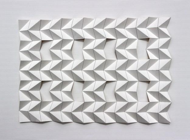 Flute Paperfold 6 (Open Grid) - flute paper, 88 x 64 x 7.5cm, 2015