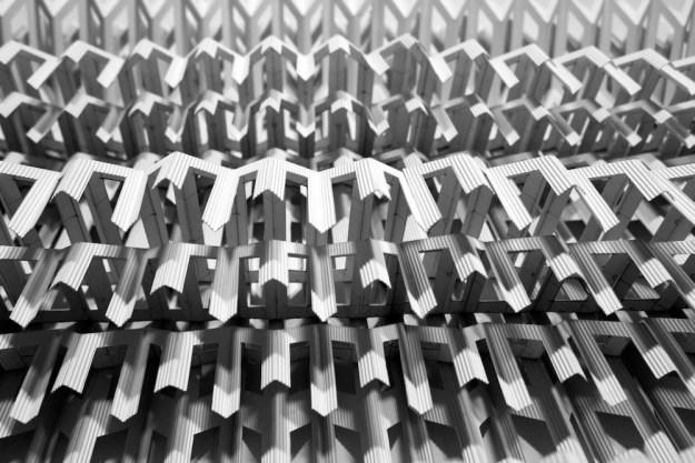 Flute Paperfold 7 (Paper Grille) - flute paper, 110 x 95 x 20cm, 2015 (detail)