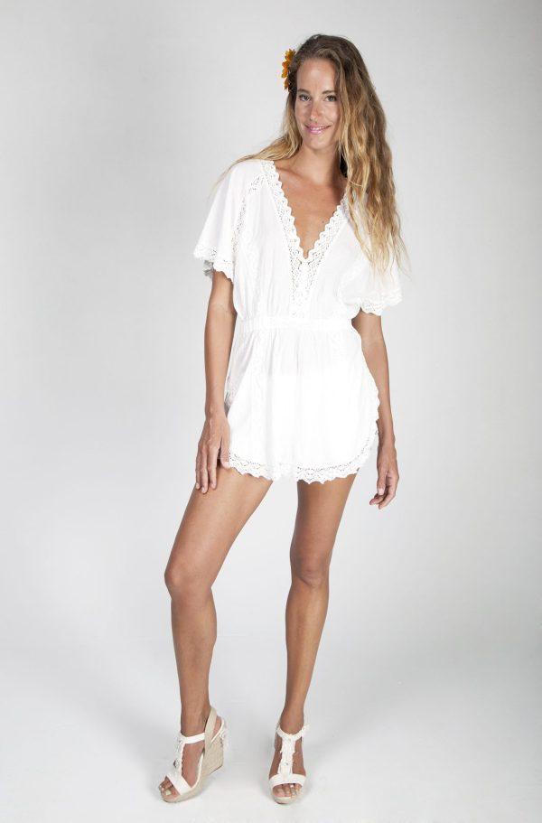 Vestido corto con manga mariposa y cintura de goma - Tony Bonet Adlib Ibiza
