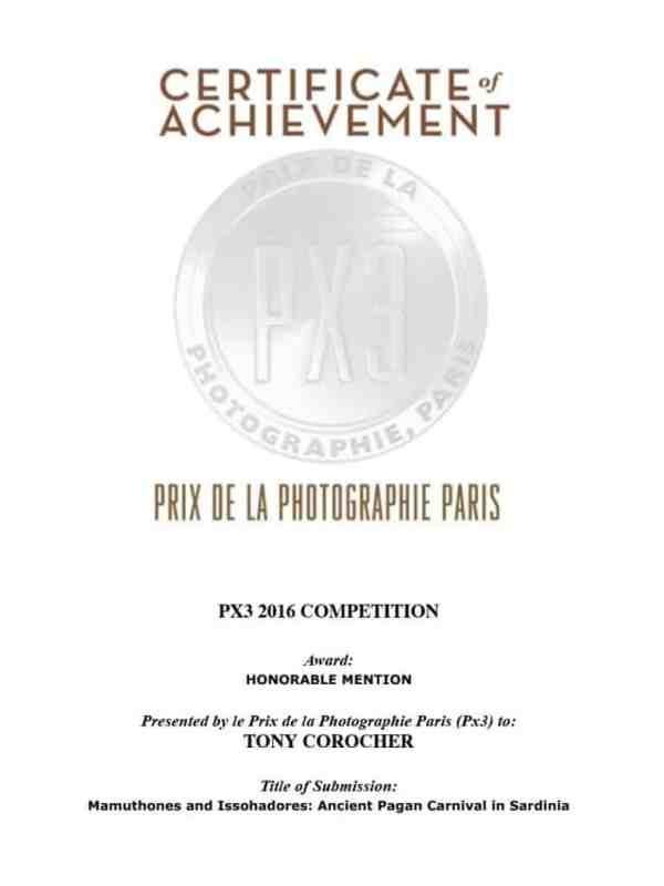 PX3 CERTIFICATE, Px3 Paris, Prix de la Photographie Paris, Tony Corocher, Awards