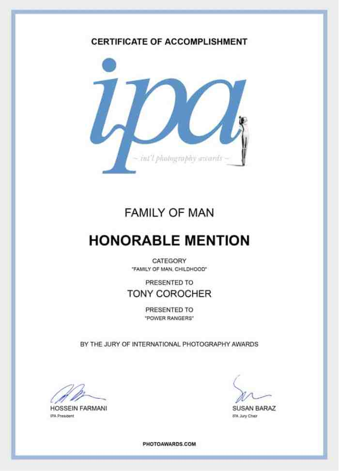 Tony Corocher, IPA - Family of Man Honorable Mention Certificate