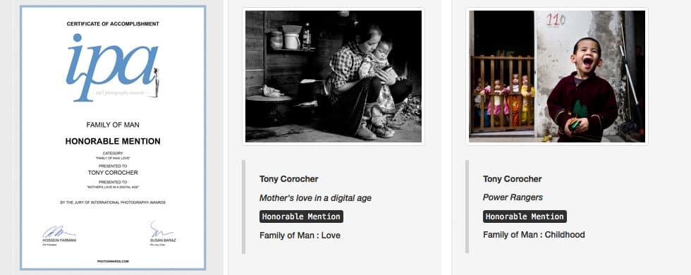 IPA FAMILY OF MAN Honorable Mention Tony Corocher