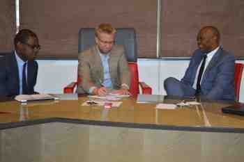 From left to right: Jean Yves-Mutanda, Elumelu Professionals Programme 2014 associate; Dr. Wiebe Boer, CEO of The Tony Elumelu Foundation; and Tony O. Elumelu, CON Founder of The Tony Elumelu Foundation, at the Elumelu Professionals Programme presentations.