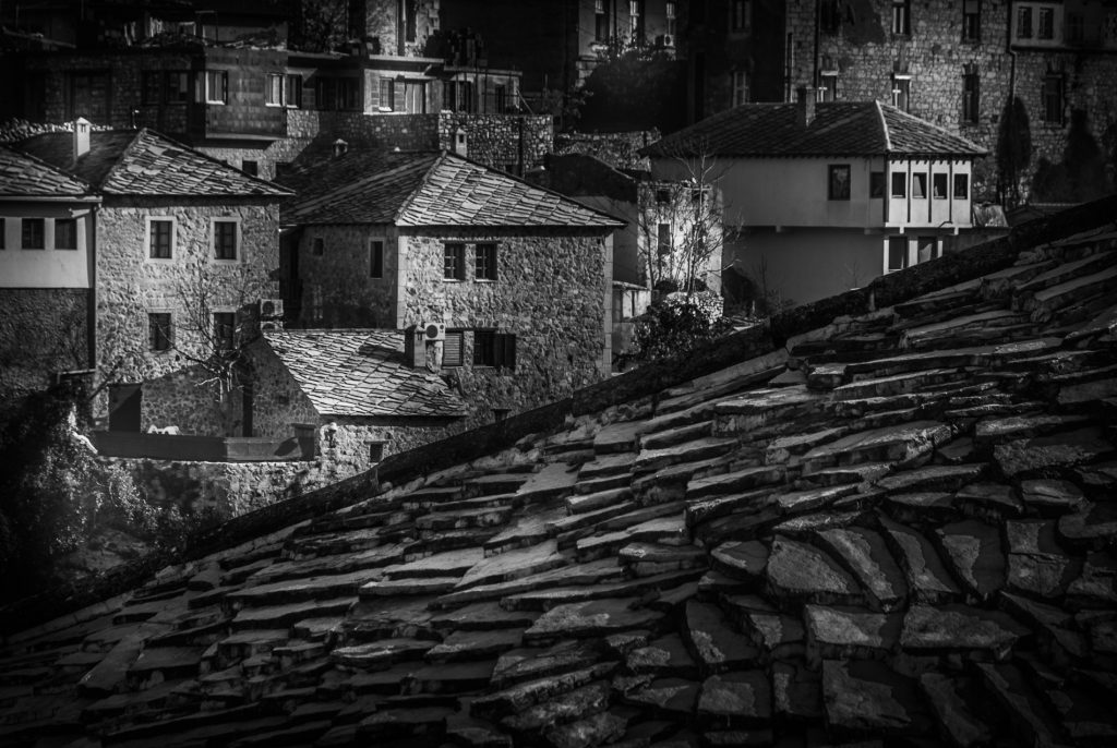 View across rooftops in Mostar, Bosnia and Herzegovina.