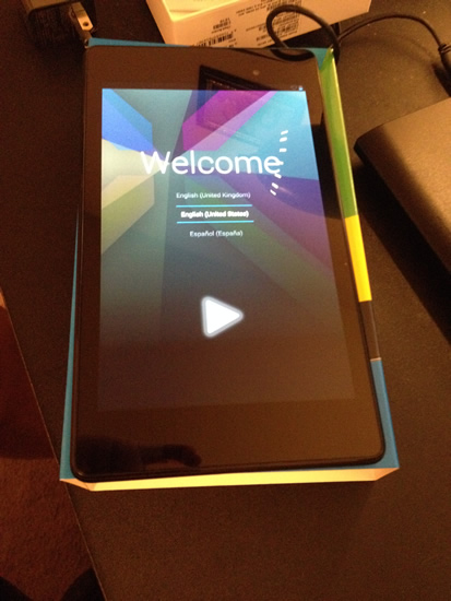 Google Nexus 7 turned on