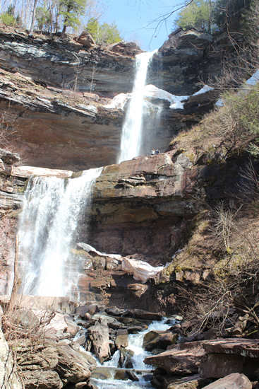 Kaaterskill Falls in full view. Some adventurous people ventured onto the level at the top of the first tier.