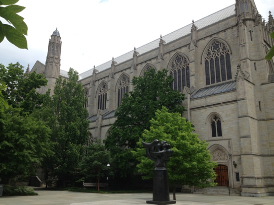The massive chapel in the middle of Princeton's campus