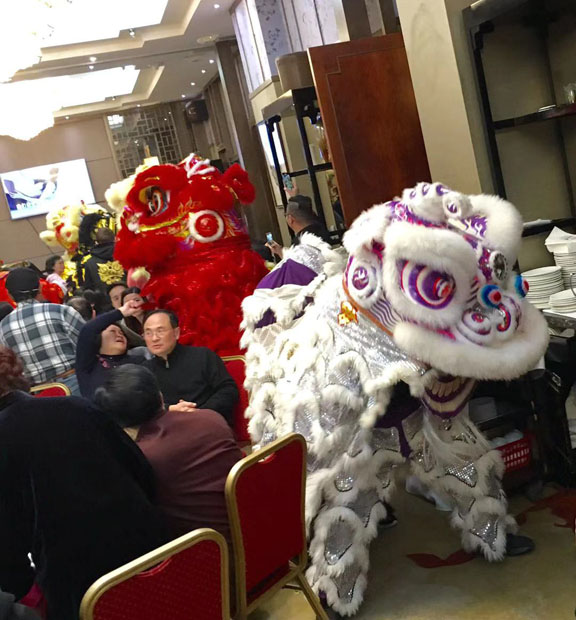 Lion dance at dimsum