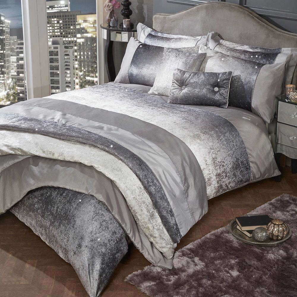 Glitter Crushed Velvet Duvet Cover Bedding Set