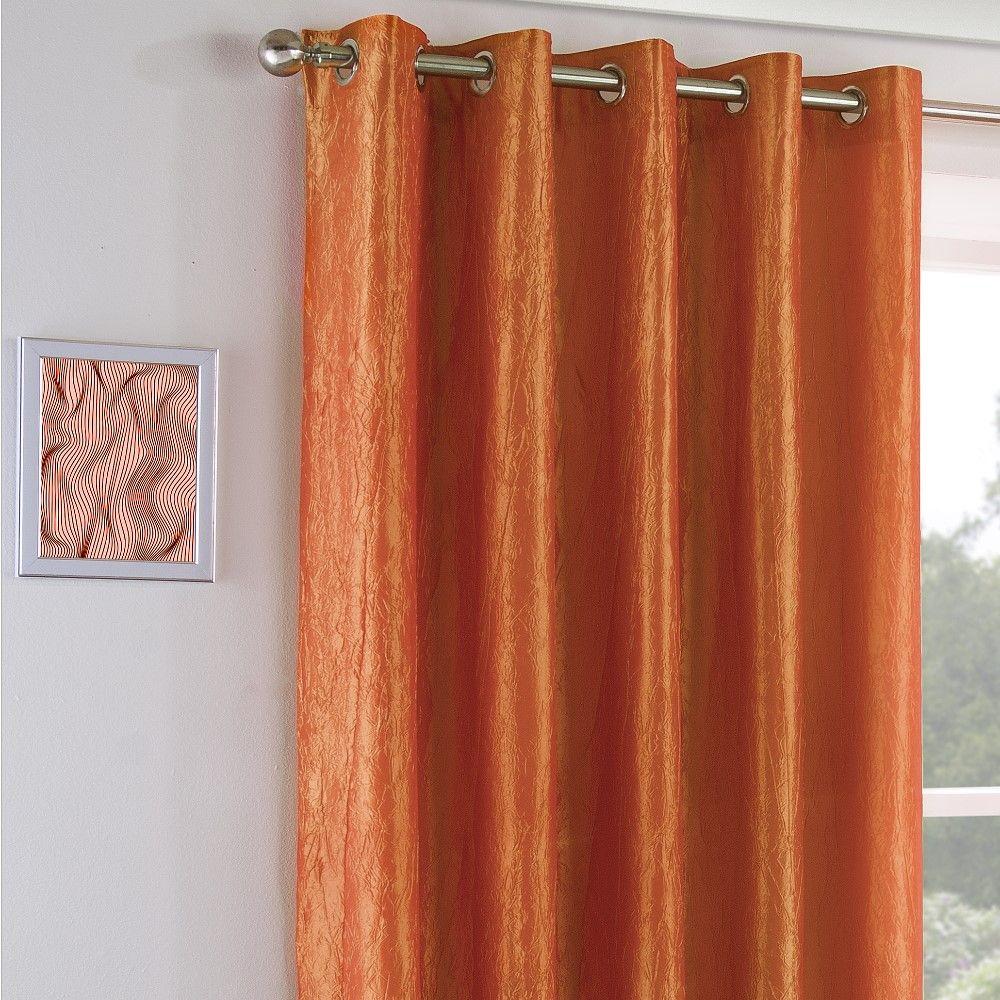 entierement doubles a œillets rideaux orange creme gris argent ecrase en taffetas aspect soie