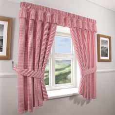 curtains kitchen antiqued cabinets gingham check red