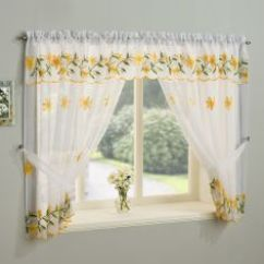 Cheap Kitchen Curtains Island Countertops Shop High Quality Online Daisy Net Curtain Window Set Yellow