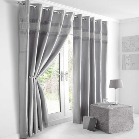 Diamante Eyelet Lined Curtains Grey Silver Tony's Textiles