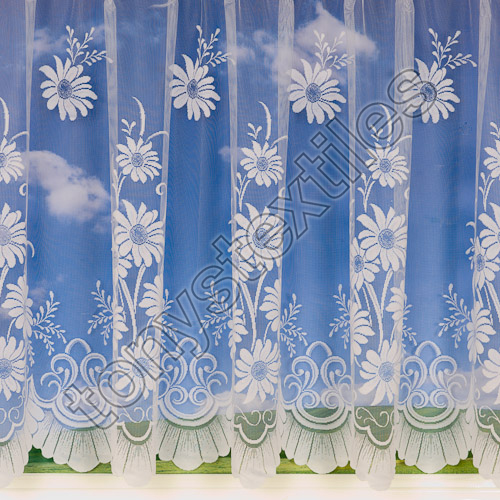 Daisy Floral Net Curtain White  Tonys Textiles  Tonys