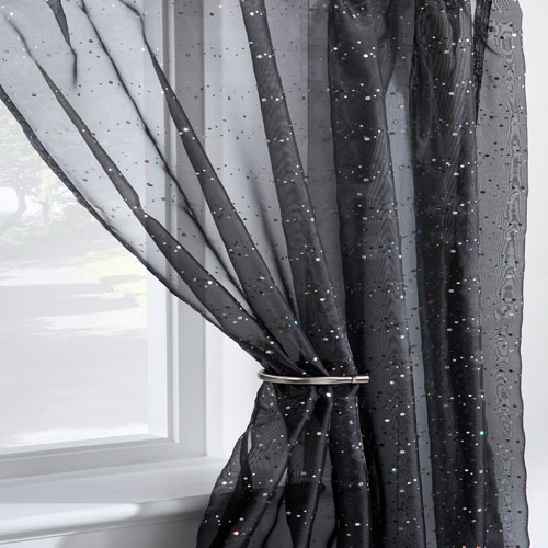 kitchen seat covers pacific fan disco sparkle black voile curtain panel | tonys textiles