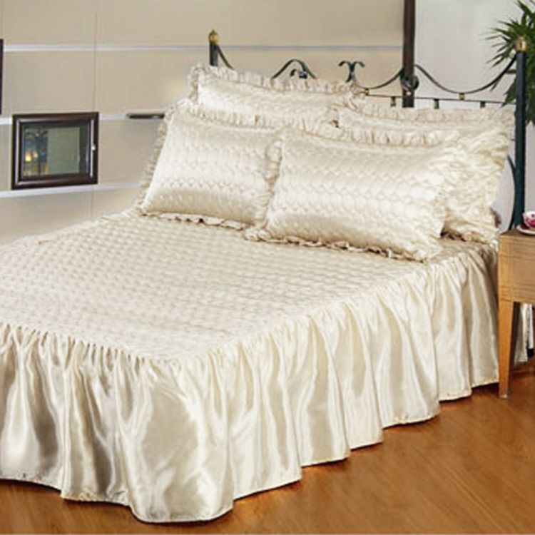 Cream Quilted Satin Bedspread Set  Tonys Textiles