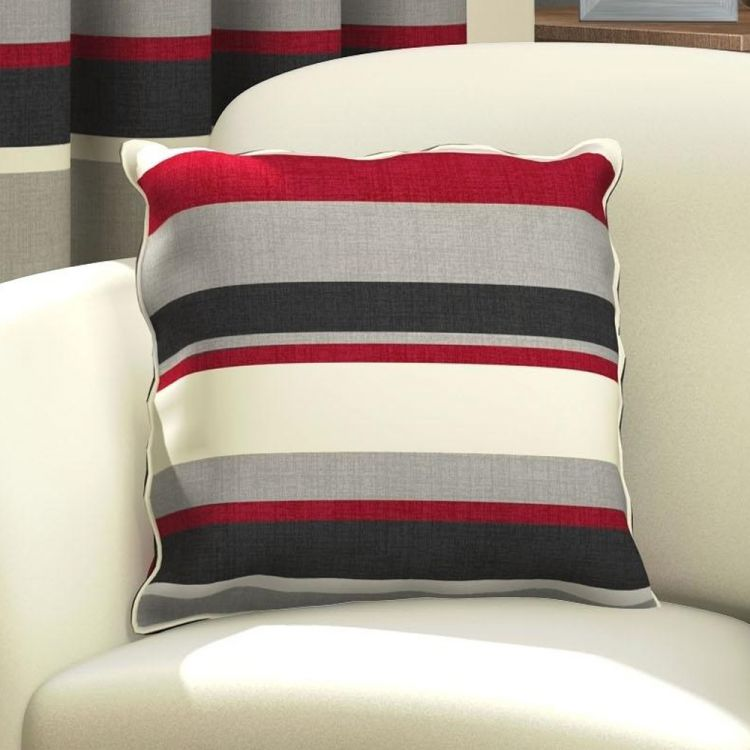 kitchen table sets 33x19 sink red & black striped cushion cover | tonys textiles