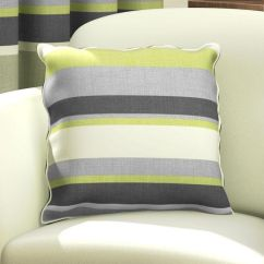 Large Kitchen Rugs Gadget Gifts Green Natural & Grey Striped Cushion Cover | Tonys Textiles