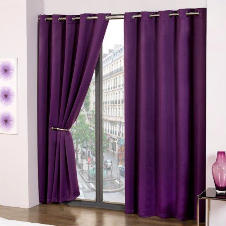 Thermal Eyelet Blackout Curtains Purple  Tonys Textiles
