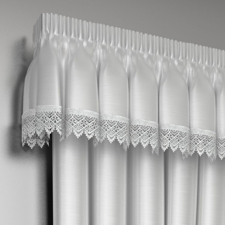 Lined Lace Embroidered Pelmet Valance  Tonys Textiles