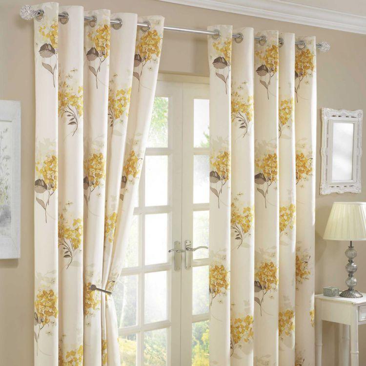 Floral Eyelet Lined Curtains Gold Cream Tonys Textiles Tonys Textiles