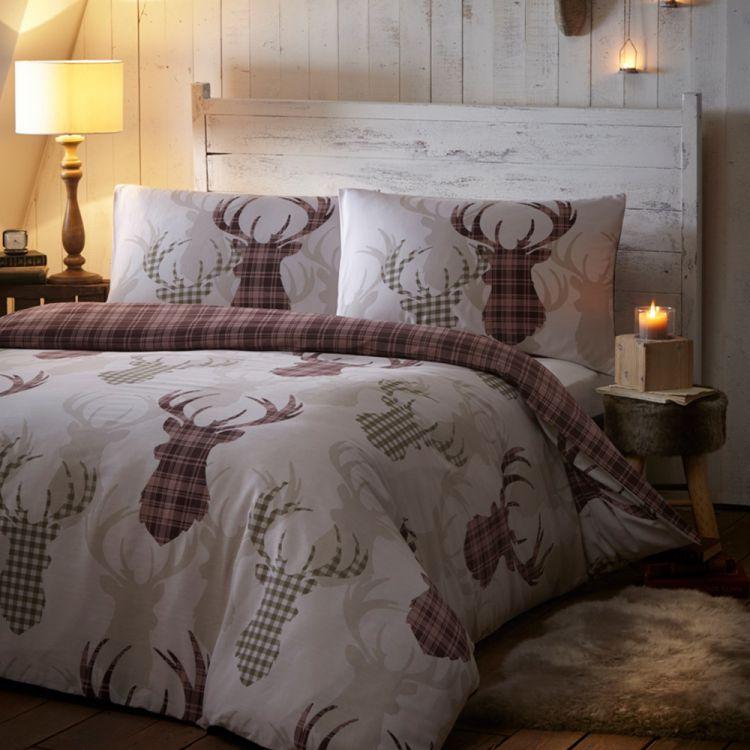 Tartan  Animal  Stag  Quilt  Duvet  Cover  Natural