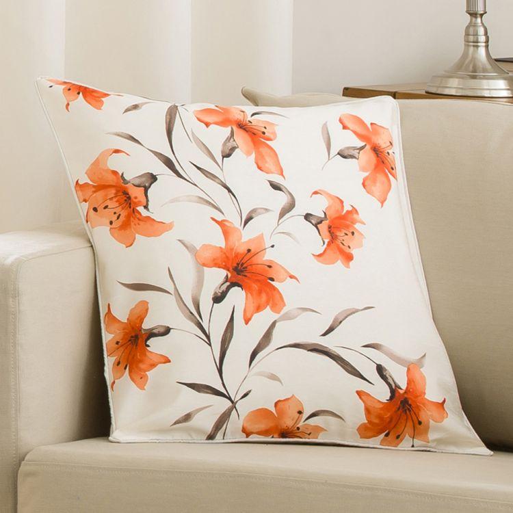 2 seat kitchen table top mount sink lily cushion cover orange cream 45cm x | tonys textiles