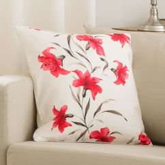 Kitchen Table Sets Outdoor Modular Lily Cushion Cover Red Cream 45cm X | Tonys Textiles