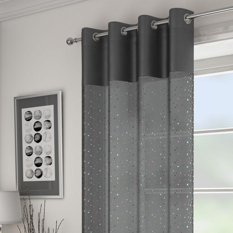 Grey Sparkle Glitz Voile Panel Tonys Textiles