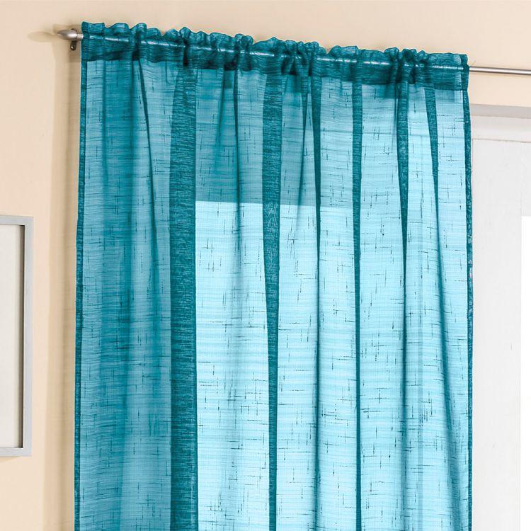 Teal Glitter Voile Curtain Panel  Tonys Textiles