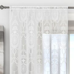 Black Kitchen Table Sets Cabinets Painted Holly Damask Laced White Voile Curtain Panel | Tonys Textiles